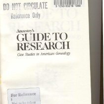 Image of CS 49 C46 1985 - Ancestry's Guide To Research; Case Studies In American Genealogy