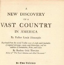 Image of F 352 H76 Vol. II - Hennepin's New Discovery - Part II