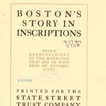 Image of F 73.37 S79 - Copies of inscriptions of on historic sites and buildings of Boston.