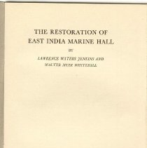 Image of AM 101 S2156 J43 - Proceedings at the rededication of the East India Marine Hall on November 4, 1943, including the history of the Museum.