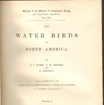 Image of QL 681 B18 Vol. 1 - Detailed descriptions of the water birds of North America, including when first seen, who discovered them and anecdotes of behavior observed.