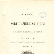 Image of QL 681 B16 1875 Vol. 3 - Classification and description of North American land birds.  Includes colored illustrations.