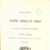 Image of QL 681 B16 1875 Vol. 1 - Classification and description of North American land birds.  Includes colored illustrations.