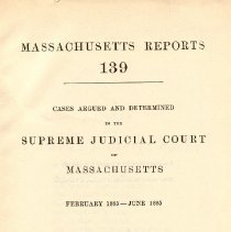 Image of KFM 2445 A19 1885-86 - Cases reported that were tried in Massachusetts Supreme Court