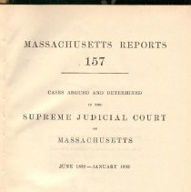 Image of KFM 2445 A19 1892-93 - Cases reported that were tried in Massachusetts Supreme Court