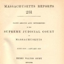 Image of KFM 2445 A19 1918-19 231 - Cases reported that were tried in Massachusetts Supreme Court