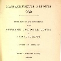 Image of KFM 2445 A19 1919 232 - Cases reported that were tried in Massachusetts Supreme Court