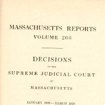 Image of KFM 2445 A19 1928-29 266 - Cases reported that were tried in Massachusetts Supreme Court