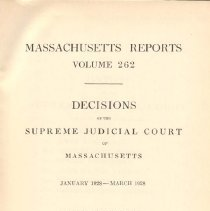 Image of KFM 2445 A19 1928 262 - Cases reported that were tried in Massachusetts Supreme Court