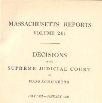 Image of KFM 2445 A19 1927-28 261 - Cases reported that were tried in Massachusetts Supreme Court