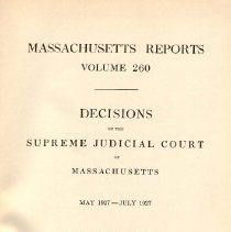 Image of KFM 2445 A19 1927 260 - Cases reported that were tried in Massachusetts Supreme Court