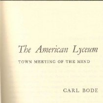 Image of LC 6551 B6 1968 - Brief history of the American Lyceum movement.