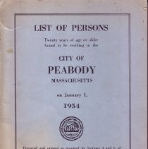 Image of F74.P35 A18 1954 - 1954 List of Person Twenty years of age or older found to be residing in the City of Peabody Massachusetts on January 1, 1954.