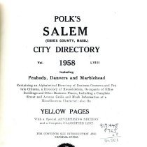 Image of F 74 .S1 A18 1958 - 1958 Polk's City directory of Salem, Peabody, Danvers & Marblehead