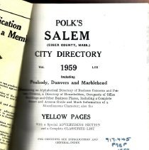Image of F 74 .S1 A18 1959 - 1959 Polk's City directory of Salem, Peabody, Danvers & Marblehead