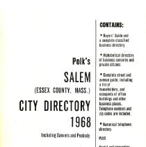 Image of F 74 .S1 A18 1968 - 1968 Polk's City directory of Salem, Peabody, Danvers & Marblehead