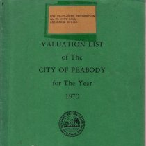 Image of F74.P36 A18 1970 - 1970 Valuation List of the City of Peabody for The Year