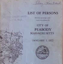 Image of F74.P35 A18 1972 - 1972 List of Person Seventeen years of age or older found to be residing in the City of Peabody Massachusetts on January 1.
