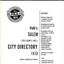 Image of F 74 .S1 A18 1973 - 1973 Polk's City directory of Salem, Peabody, Danvers & Marblehead