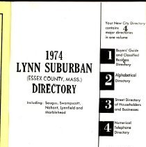 Image of 1974 Lynn Suburban Directory: Including Saugus, Swampscott, Nahant, Ly