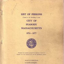 Image of 1976-1977 List of Persons for the City of Peabody