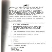 Image of F74.P35 A18 1992 - 1992 Peabody Annual Listing. Listing by Wards and includes information about the City for that year.