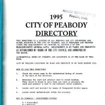 Image of F74.P35 A18 1995 - 1995 Peabody Annual Listing. Listing by Wards and includes information about the City for that year. Book is a tribute to George Peabody's 200th Birthday.