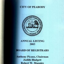 Image of 2003 City of Peabody: Annual Listing