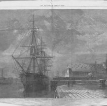 Image of George Peabody's Body being Placed on the H.M.S. Monarch