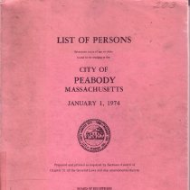 Image of F74.P35 A18 1974 - 1974 List of Person Twenty years of age or older found to be residing in the City of Peabody Massachusetts on