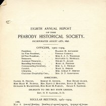 Image of 8th Annual Report of the Peabody Historical Society