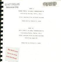 Image of Nurse & Esty Familes - Title Page