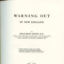 """Image of F 5 B47 - History of """"Warning Out,"""" the method used in Colonial New England towns to rid themselves of poor or unwanted people."""