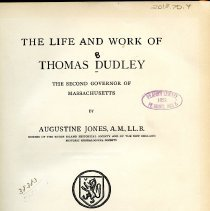 Image of F67 D85 - Book on Thomas Dudley the second Governor of Massachusetts