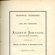 Image of E667 .U5 - Speeches given from the Tennessee delegation and other Senators on the for the late Andrew Johnson.