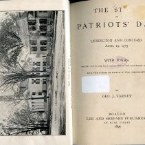 Image of E 241 .L6 V3 - History of Patriots' Day, which is celebrated in Massachusetts and parts of New England only.