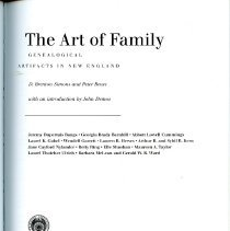 Image of NK810 .A78 2002 - From the NHGS website:  An indispensable resource illuminating the world of decorative arts and its relationship to family history, The Art of Family: Genealogical Artifacts in New England, edited by D. Brenton Simons and Peter Benes, features fifteen chapters by leading authorities in the fields of both material culture and genealogy. The Art of Family is beautifully illustrated with more than 200 black and white illustrations and sixteen color plates, many drawn from the collections or publications of the American Antiquarian Society, the Society for the Preservation of New England Antiquities, the Dublin Seminar for New England Folklife, the New England Historic Genealogical Society, and museums and private collections throughout the United States.  Contents:  Acknowledgments Notes on Contributors Introduction - John Demos  Section 1: Two Historians' Views on Famrily and Genealogy Section 2: Family Representations and Remembrances Section 3: Families and Portraiture Section 4: Representations of Passage Section 5: Patterns of Inheritance and Acquisition Section 6: Patters of Family Legacies Section 7: Genealogy and Historical Research Section 8: Checklist  Name Index Subject Index