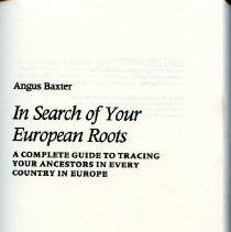 Image of CS 403 .B39 1985 - A book to aid in looking for ones family roots in Europe.