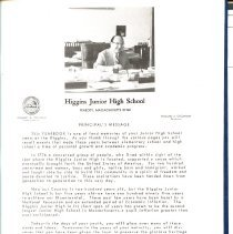 Image of Letter from Principal of Higgin Junior High for 1975-1976 Yearbook
