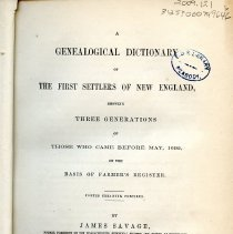 Image of Vol. 1 for A Genealogical Dictionary of New England Settlers