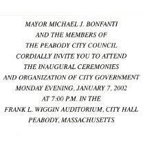 Image of Invite to Mayor Michael J. Bonfanti Inaugural Ceremonies
