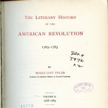 Image of PS 185 .T82 V.2 - The Literary History of the American Revolution 1763-1783 | Volume II