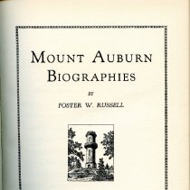"""Image of F74.M9 R8 - A Biographical Listing of Distinguished Persons Interred in Mount Auburn Cemetery Cambridge, Massachusetts 1831-1952  """"Memories"""" by Bishop G. Mromley Oxnam Introduction by Oakes I. Ames Historical Sketch by James Gore King Biographical Sketches by Foster W. Russell"""