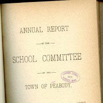 Image of Peabody School Annual Reports - 1886