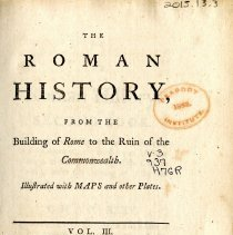 Image of DG 231 .H78 1766 V.3 - The Roman History from the Building of Rome to the Ruin of the Commonwealth.