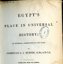 Image of DT83 .B94 - Egypt's Place in Universal History: An Historical Investigation in Five Books -- Vol. 2
