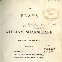 "Image of PR 2752 .R3 1813 v. 4 - The Plays of William Shakspeare: Volume the Fourth -- Contains ""Tempest"" - ""Two Gentlemen of Verona"" & ""Midsummer Night's Dream"""