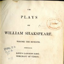"Image of PR 2752 .R3 1813 V. 7 - The Plays of William Shakespeare: Volume 7 -- includes ""Love's Labour's Lost"" and ""Merchant of Venice"""
