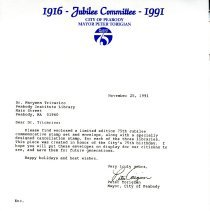 Image of Letter about Jubilee - 1991