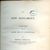 Image of Peabody/Sutton Shelf BS 2095 N6 1869 - The New Testament: Translated from the Greek Text of Tischendorf
